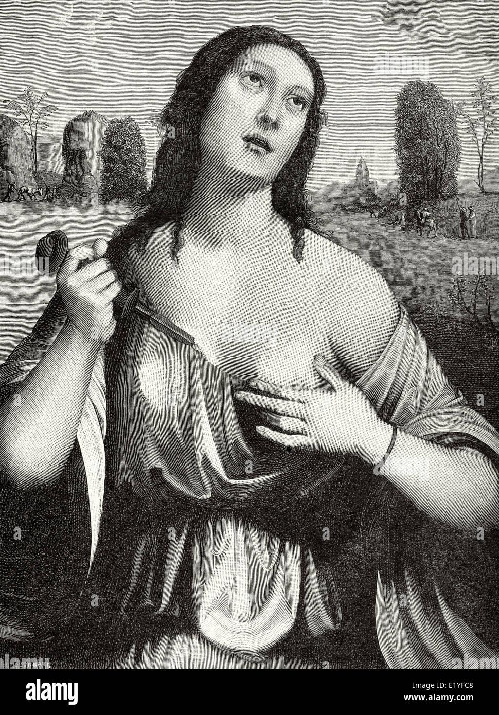 Lucretia. 510 v. Chr. starb. Halb-legendäre Abbildung. Römische Republik. Selbstmord. Kupferstich von Stockbild