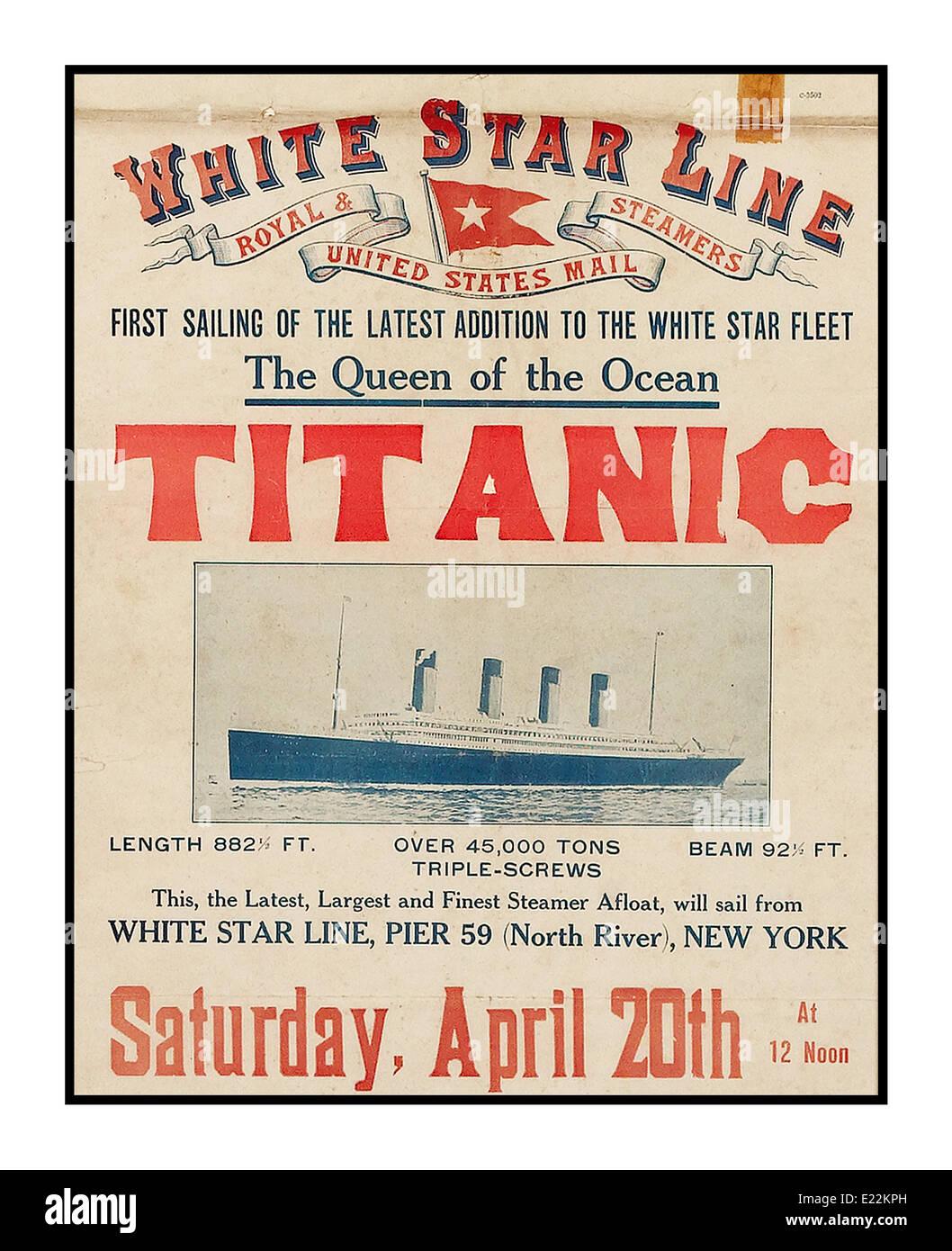 TITANIC-Plakat Werbung für die erste Abfahrt der Titanic aus New York 20. April 1912 Titanic sank auf dem Weg Stockbild