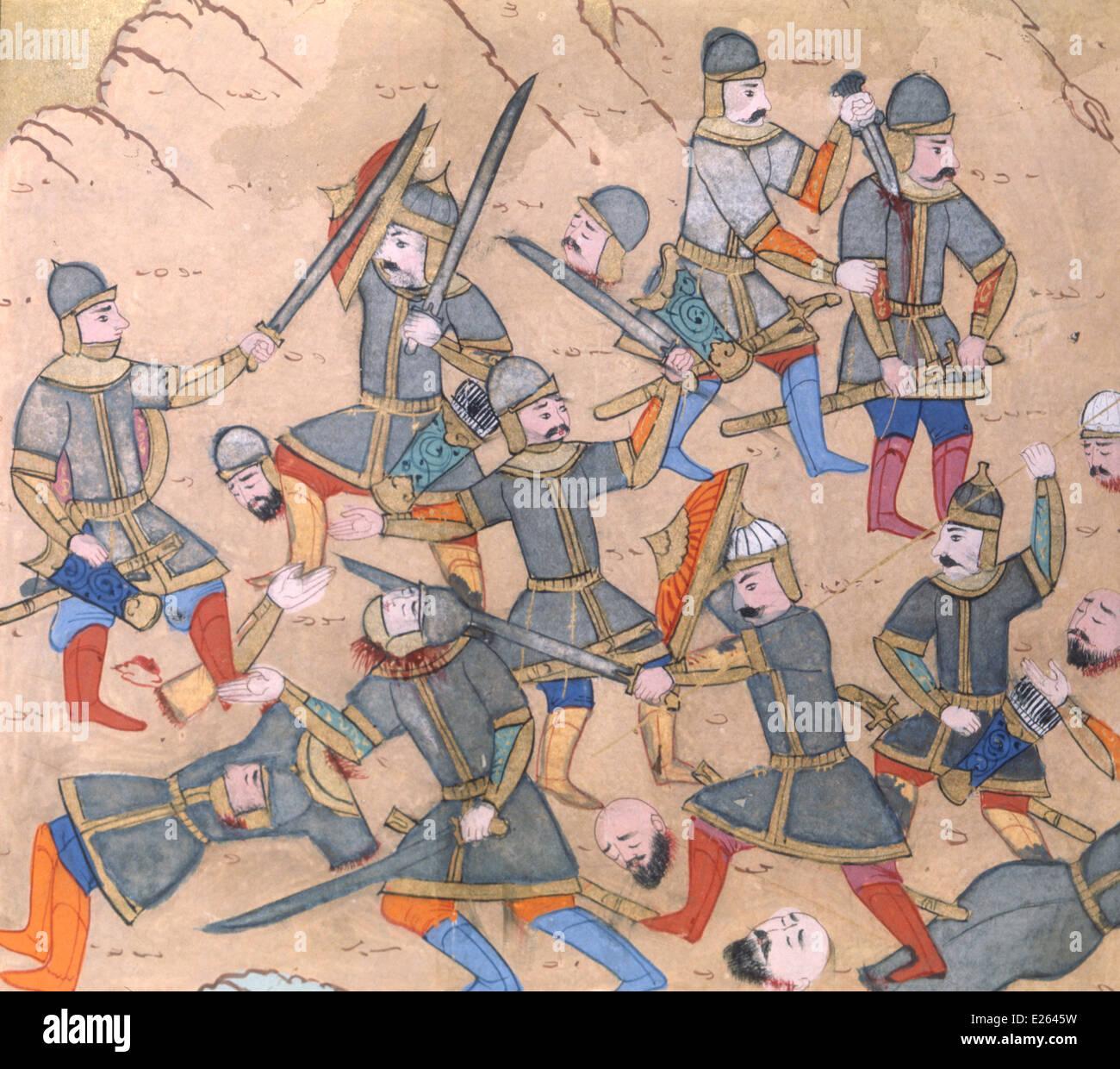 Konflikt zwischen den Osmanen und Kreuzzüge, Manuskript auf gewinnende Gence des 16. Jahrhunderts, Istanbul, Stockbild