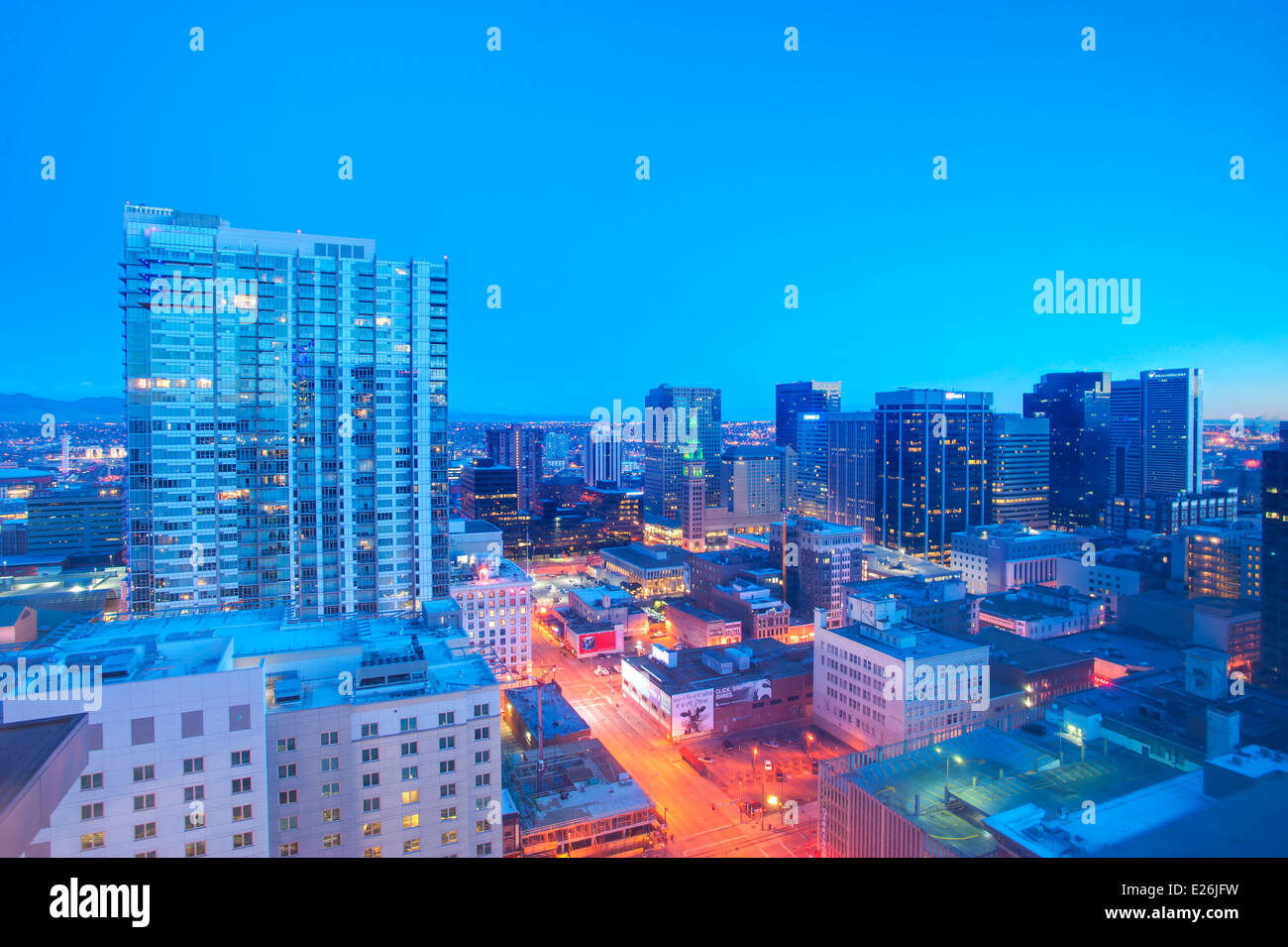 Skyline von Denver, CO Stockbild