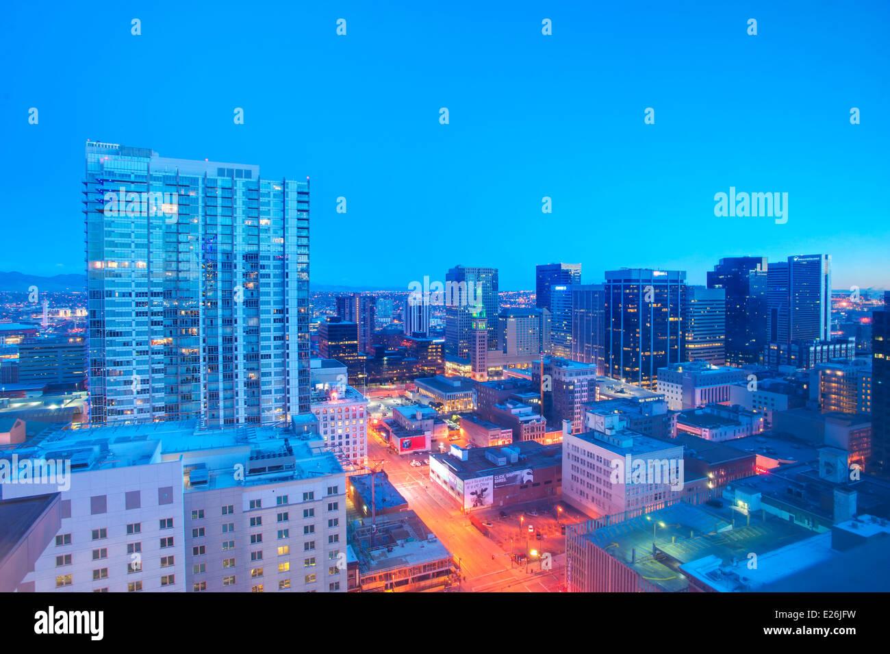 Skyline von Denver, CO Stockbild