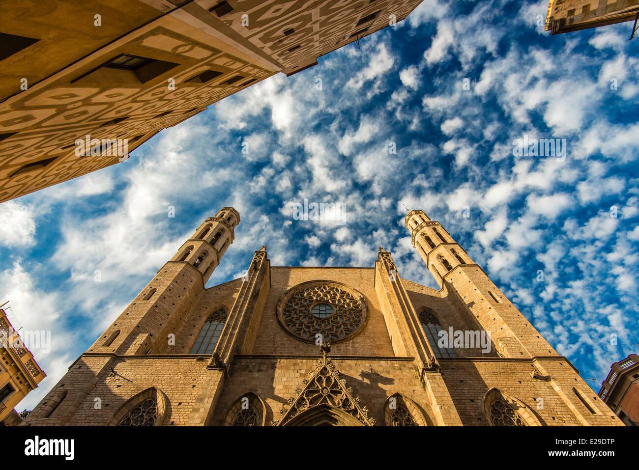 Fassade von Santa Maria del Mar Kirche, Born Viertel, Barcelona, Katalonien, Spanien Stockbild