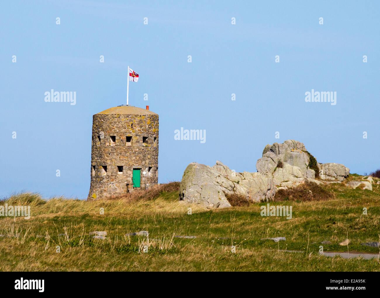 Guernsey uk Martello tower Schlupfloch Insel Stockbild