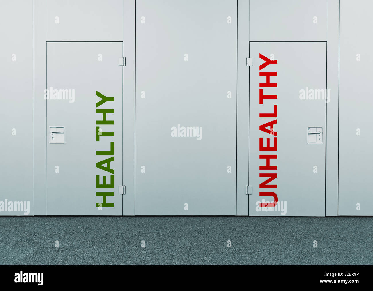 Gesunde und ungesunde Tür Stockbild