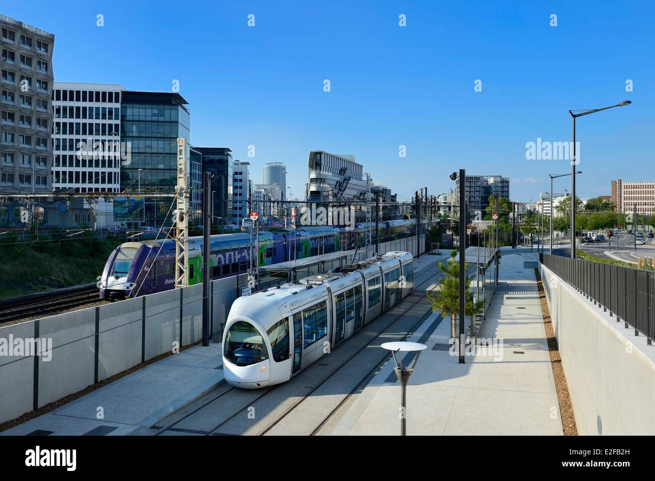 Frankreich, Rhone, Lyon, die Herstellung - Montluc Straßenbahn Haltestelle auf der Linie 4 Stockbild