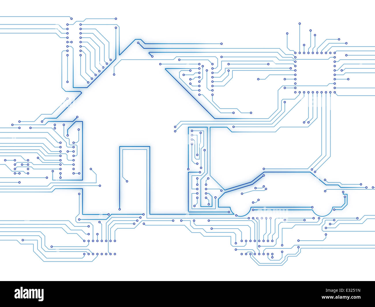 House und Elektro Auto zukünftiger Hausautomation Haustechnik konzeptionelle Darstellung isoliert auf weiss Stockbild