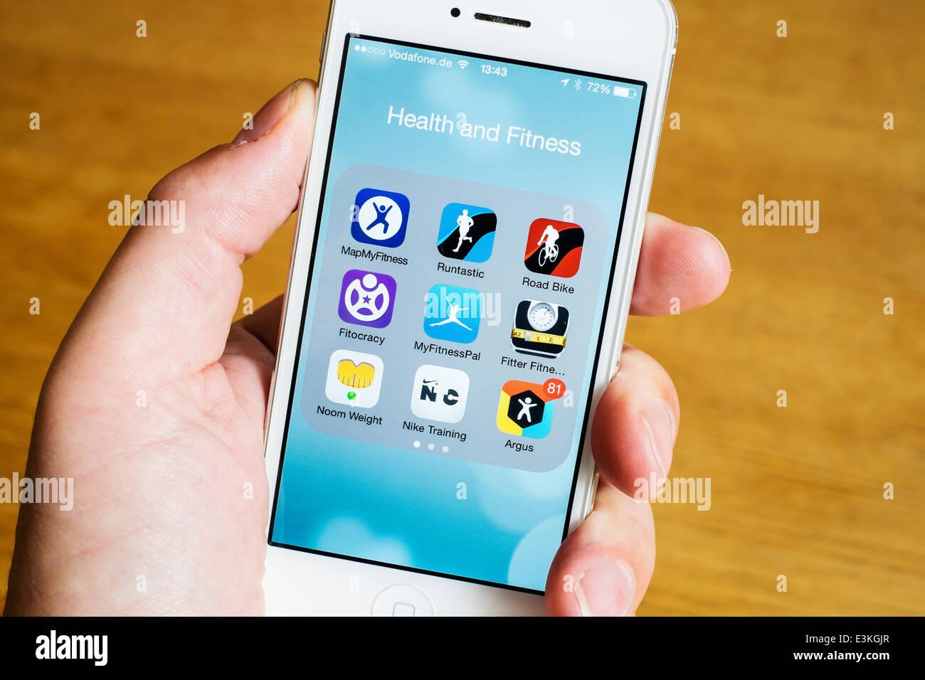 Detail von vielen Gesundheit, Sport und Fitness apps auf dem iPhone-Smartphone Stockbild