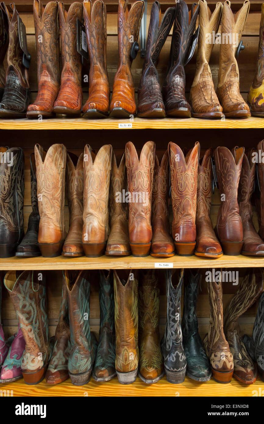 Cowboy Stiefel den Regalen, Austin, Texas, Vereinigte Staaten von Amerika Stockbild