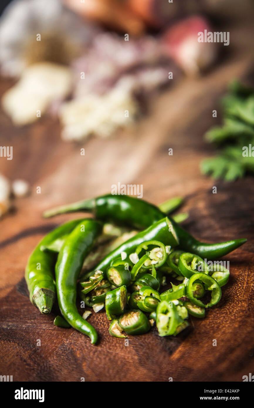 Zutat für die Herstellung von grüne Curry-paste - Chili Stockbild