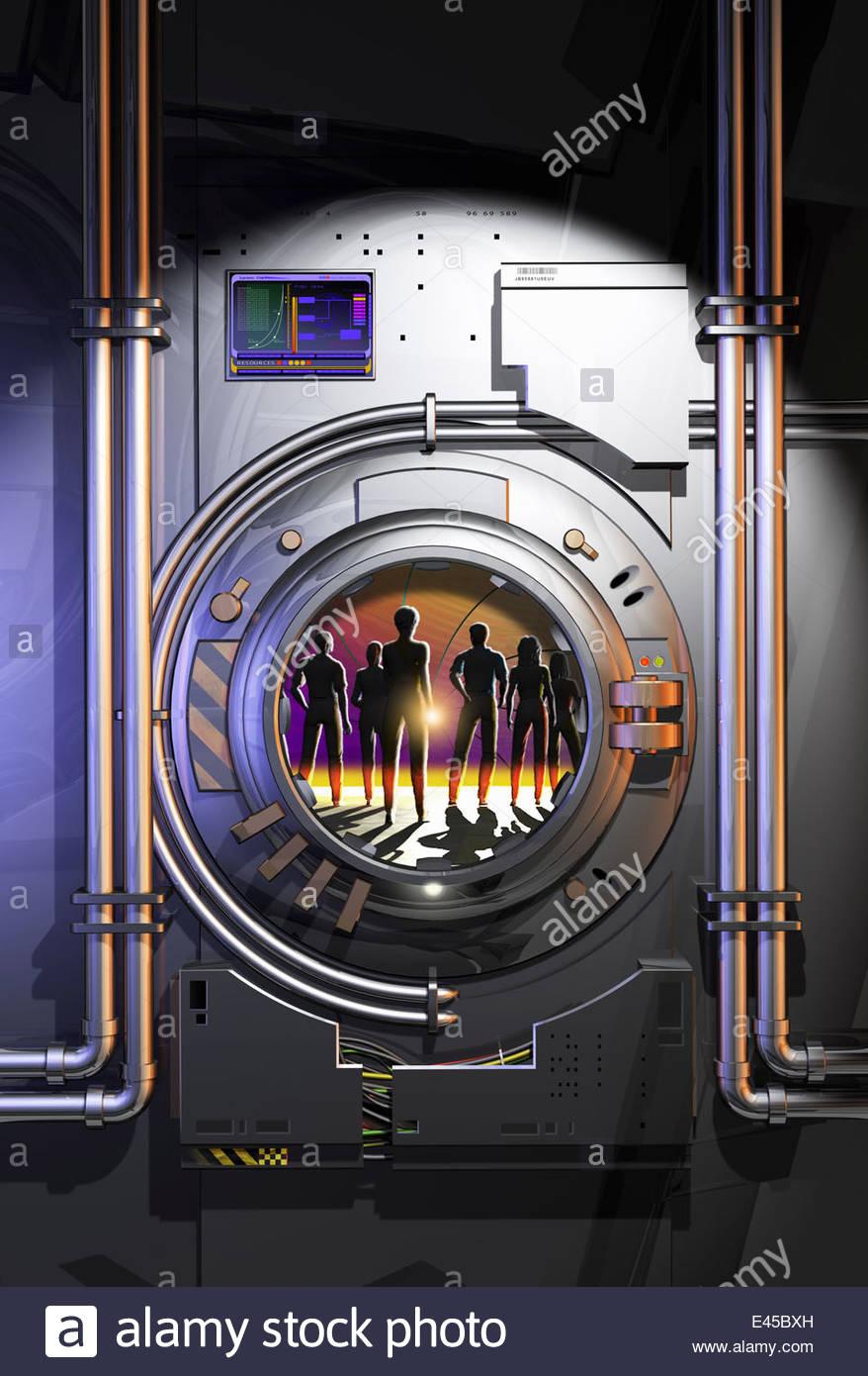 Silhouette eines Menschen im futuristischen Tresor-Luke-portal Stockbild