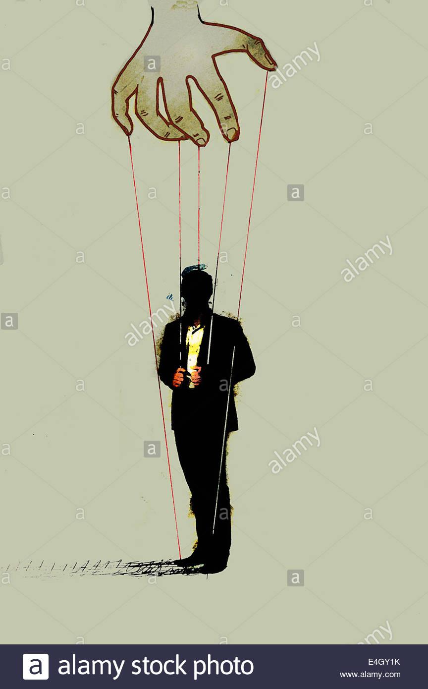 Hand-Steuerung Geschäftsmann auf Fäden Stockbild
