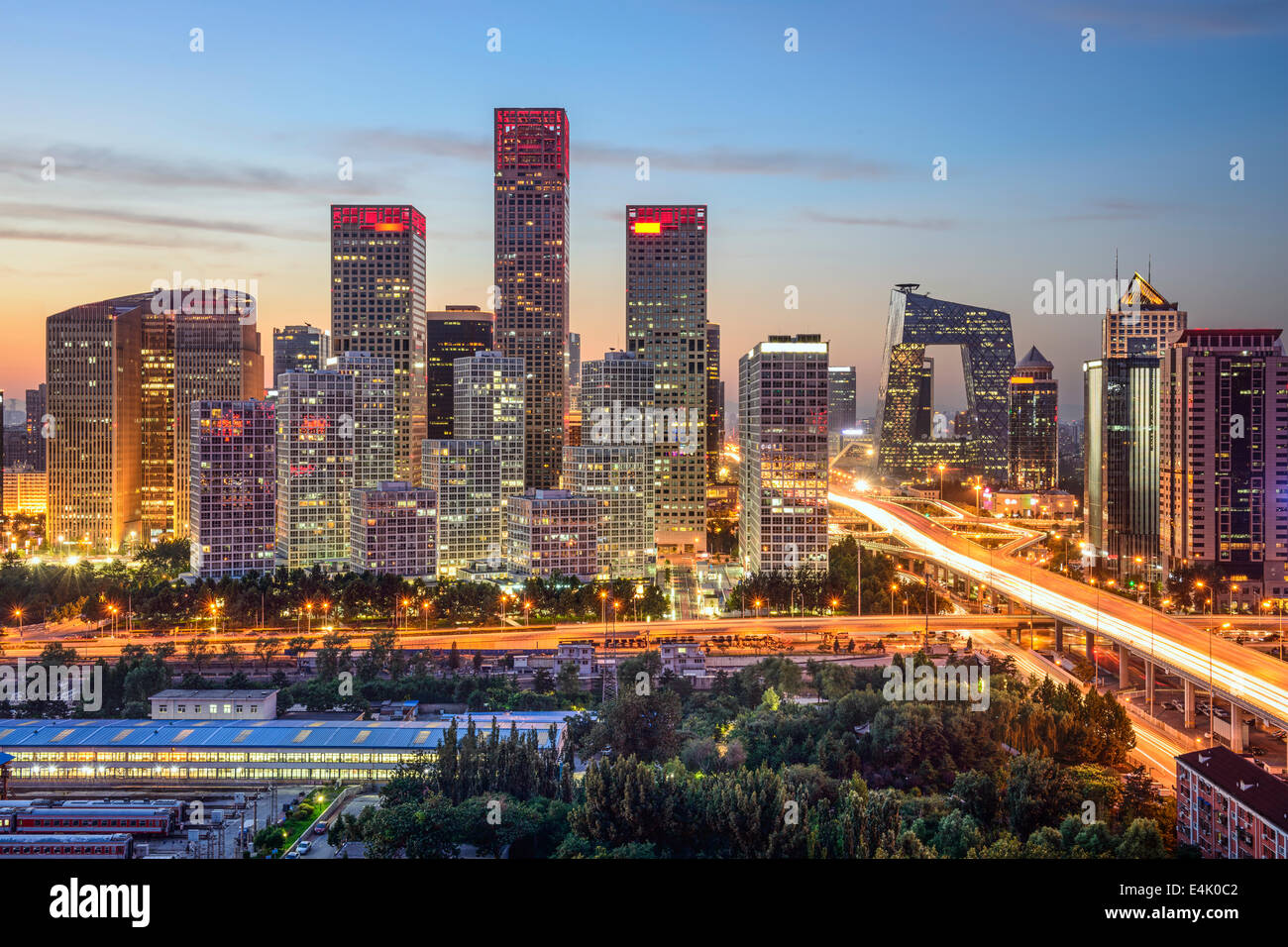 Peking, China-Skyline im central Business District. Stockbild