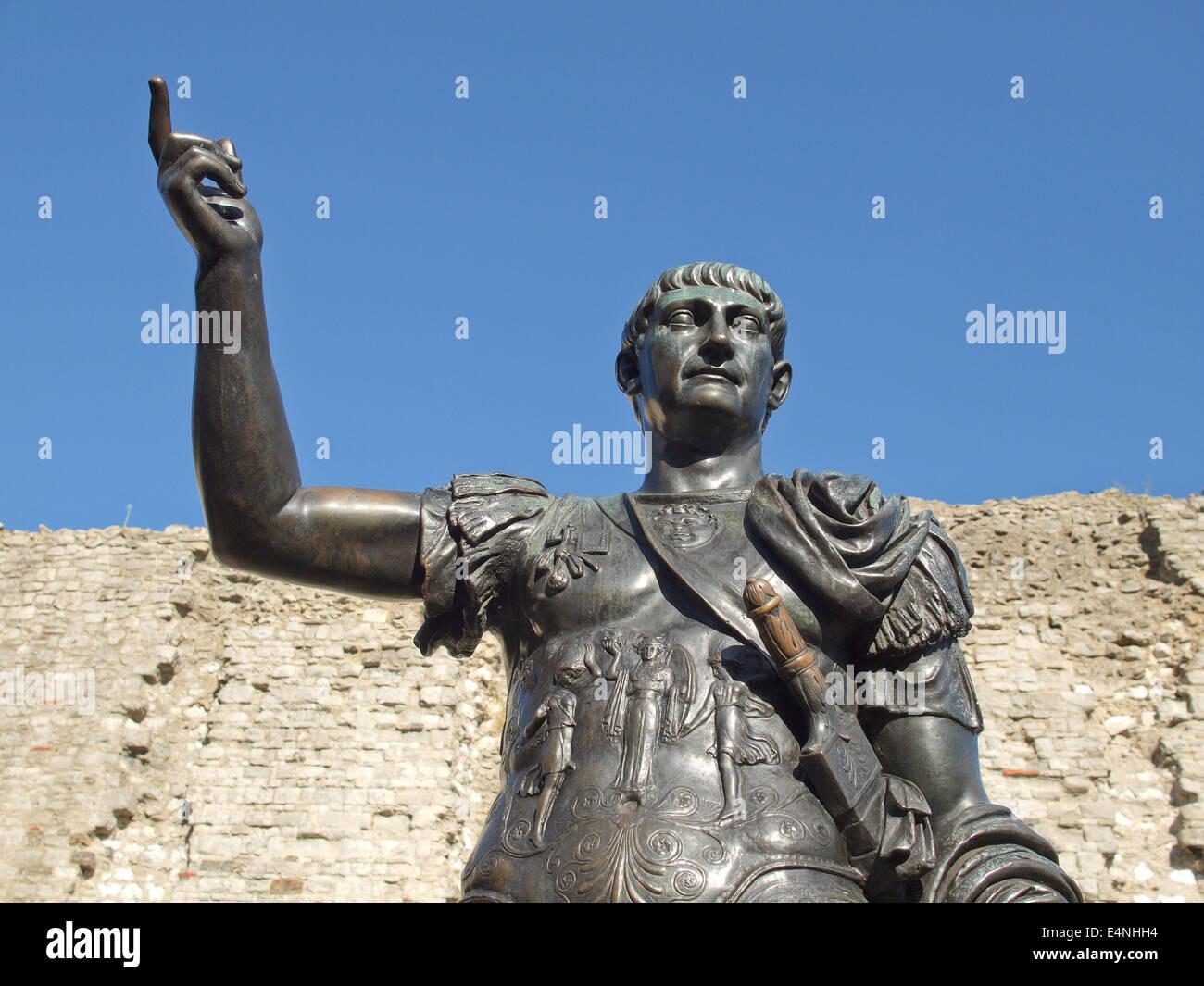 Kaiser Trajan Statue Stockbild