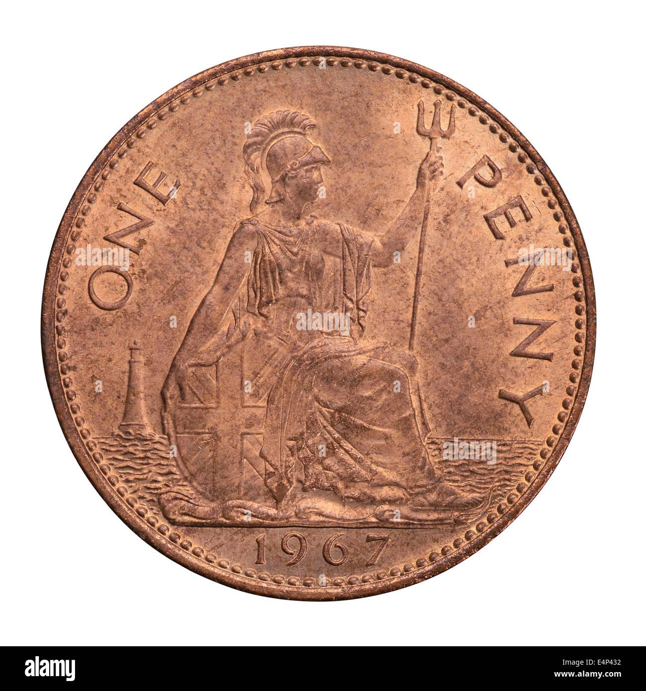 1967 britische One Penny Münze Stockbild