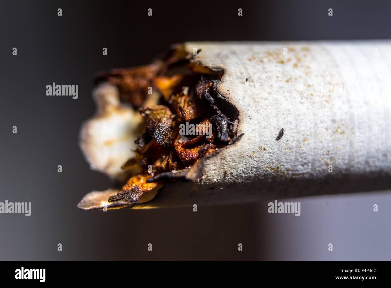 Closeup o ungesunde gerauchte Zigarette Stockbild