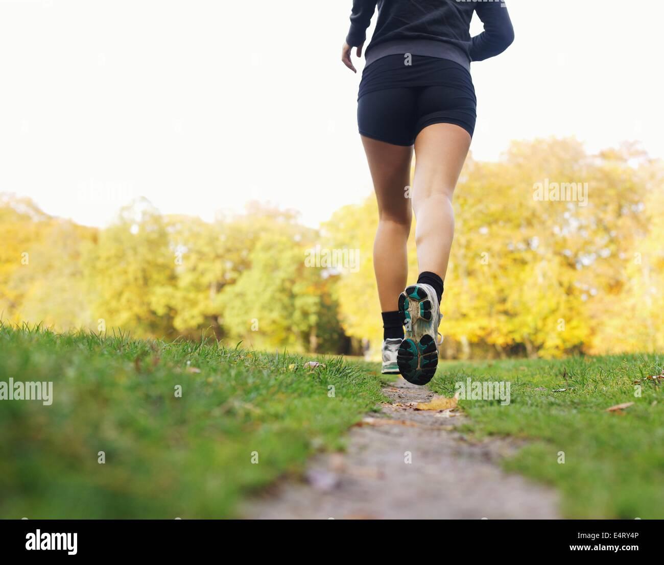Rückansicht der Sportlerin im Park Joggen. Frauen Fitness-Modell im freien laufen Stockbild