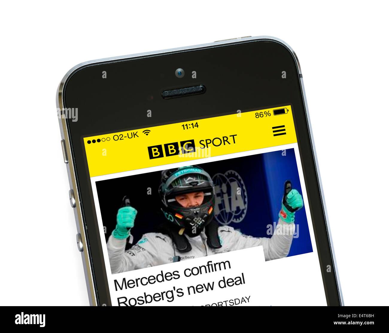 Die BBC Sport-app auf einem Apple iPhone 5 s Stockbild
