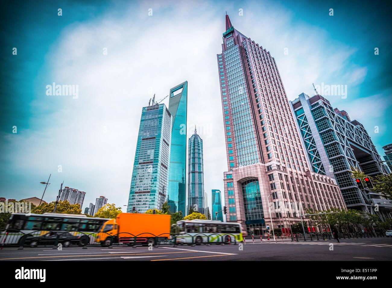 Shanghai Jahrhundert Avenue Straßenbild Stockbild