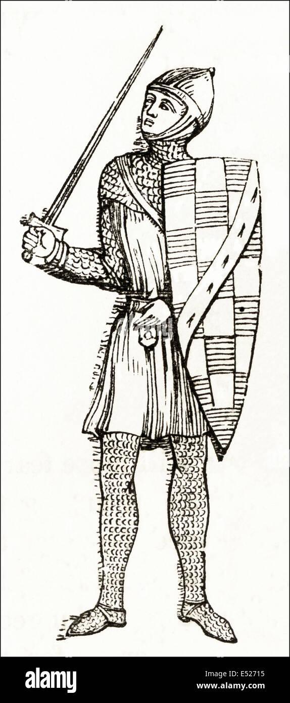 Guy of Warwick einen legendären englischen Helden des 13. Jahrhunderts. Viktorianischen Holzschnitt, Kupferstich, Stockbild