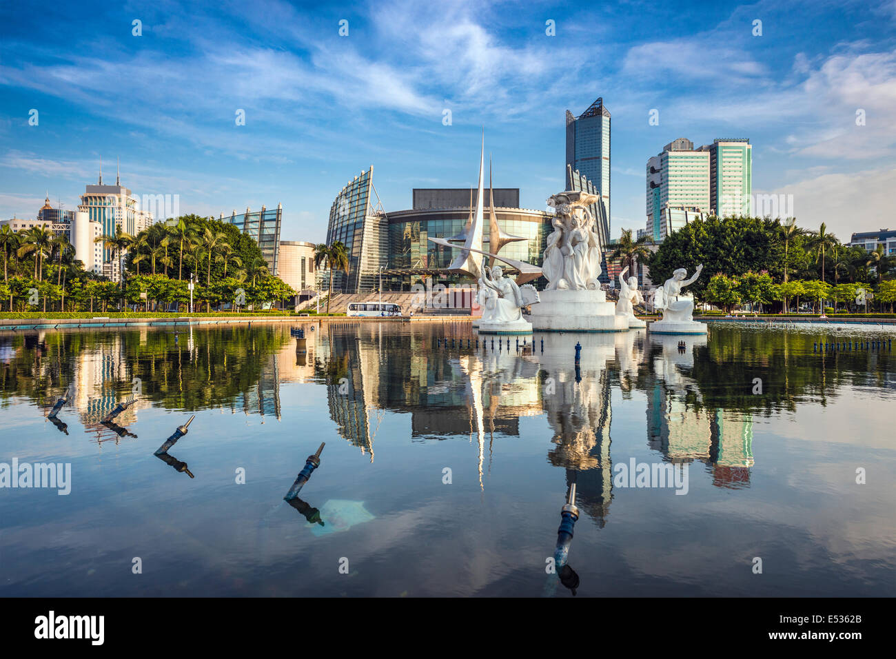 Fuzhou, China Stadtbild am Wuyi Square Brunnen. Stockbild
