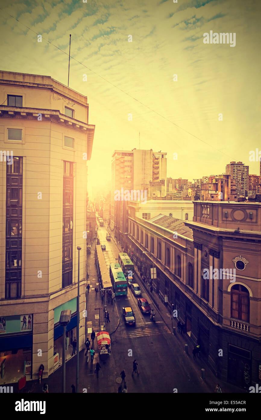 Vintage Bild der Innenstadt von Santiago de Chile. Stockbild