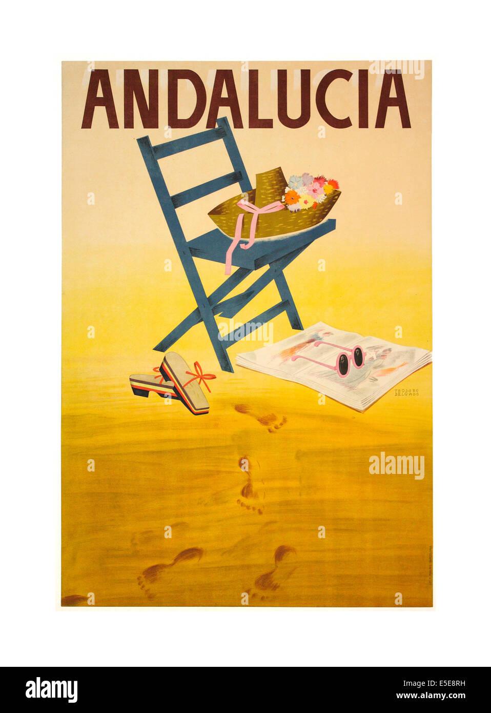 50er Jahre Vintage Reise-Plakat für Andalusien Spanien Stockbild