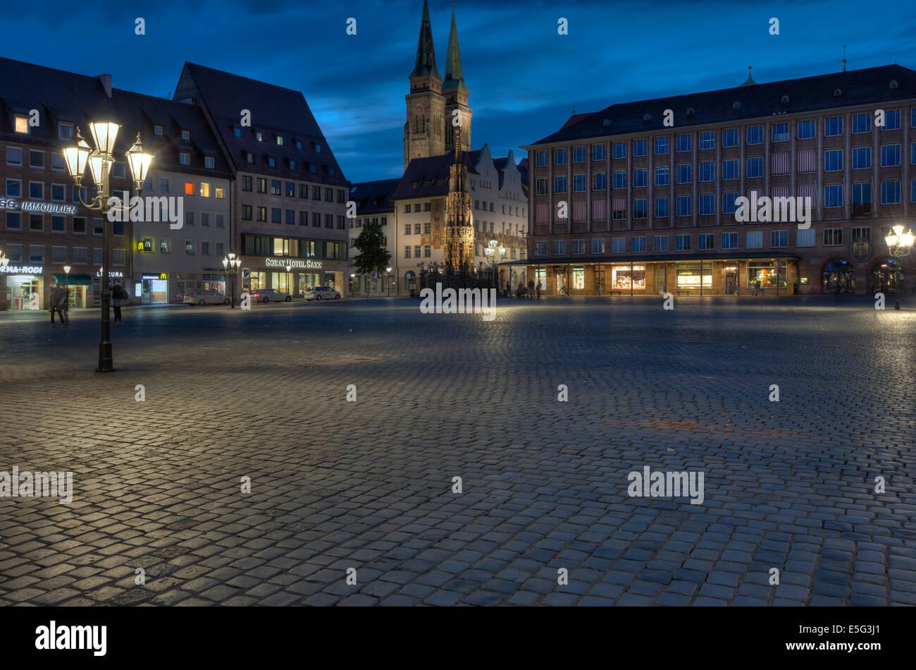 Der Hauptmarkt (Hauptmarkt) in der Nürnberger Altstadt. Stockbild