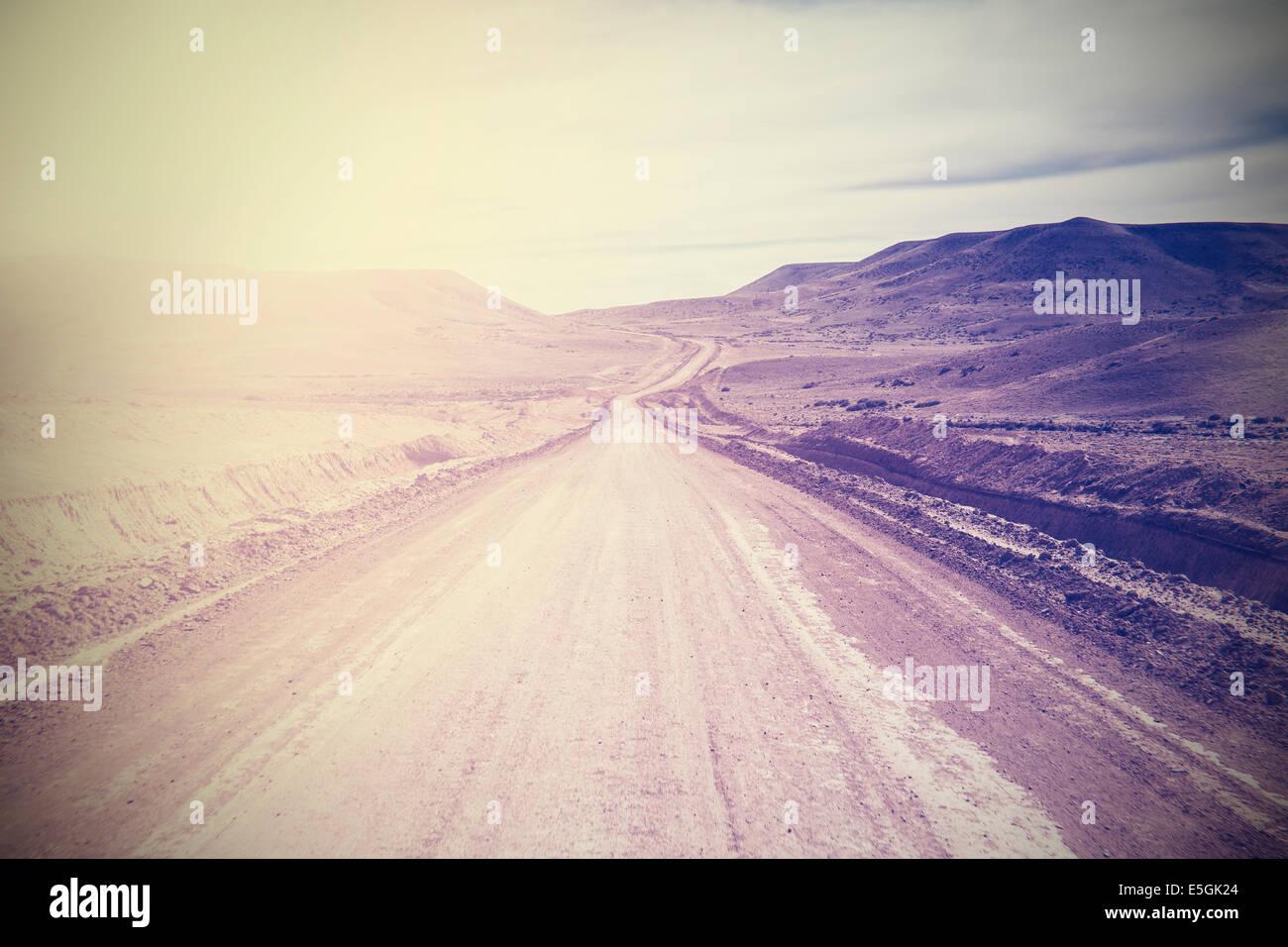 Vintage Bild der berühmten Straße, südlichen Route 40, Patagonien, Argentinien. Stockbild