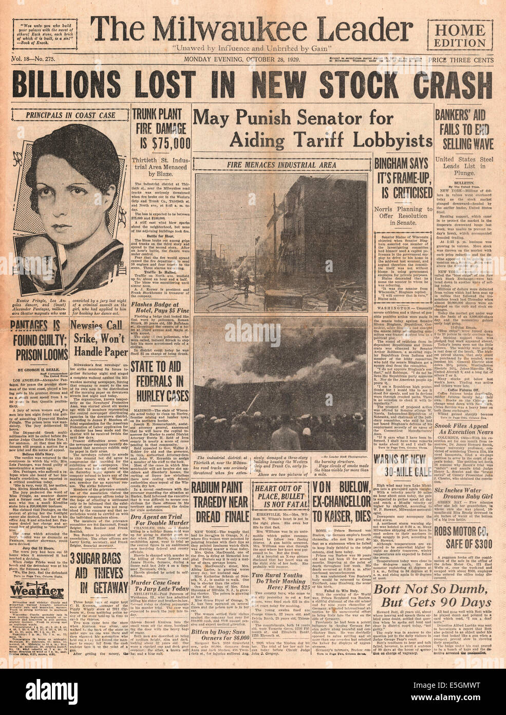 1929 Milwaukee Journal (USA) Titelseite berichtet das Wall Street Crash Stockbild