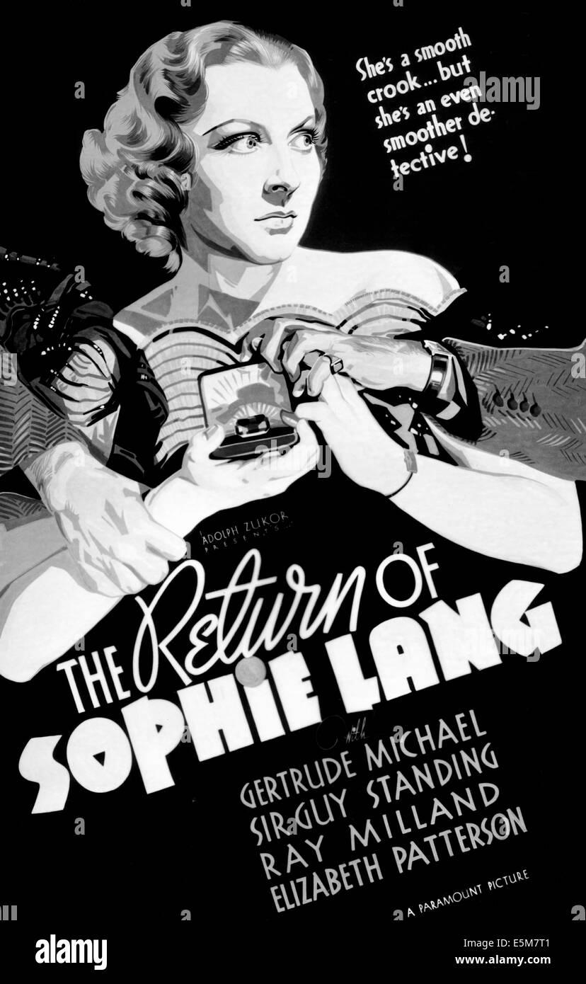DIE Rückkehr von SOPHIE LANG, Gertrude Michael, 1936 Stockbild