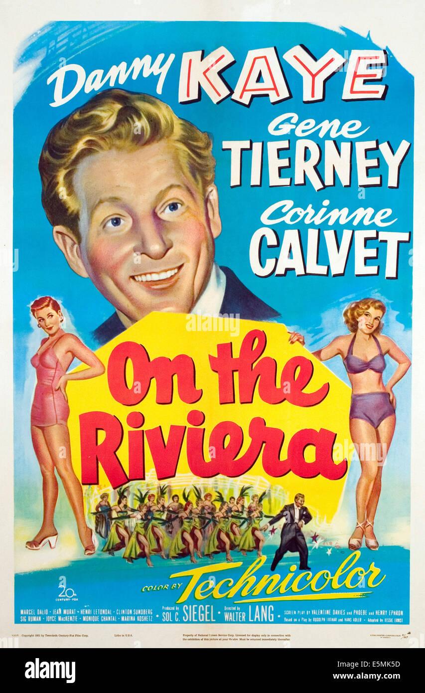 AN der RIVIERA, Danny Kaye, 1951. Stockbild
