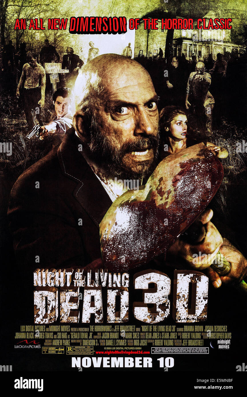 NIGHT OF THE LIVING DEAD 3D US voraus Plakatkunst, Sid Haig, 2006. © Midnight Movies/Courtesy Everett Collection Stockbild