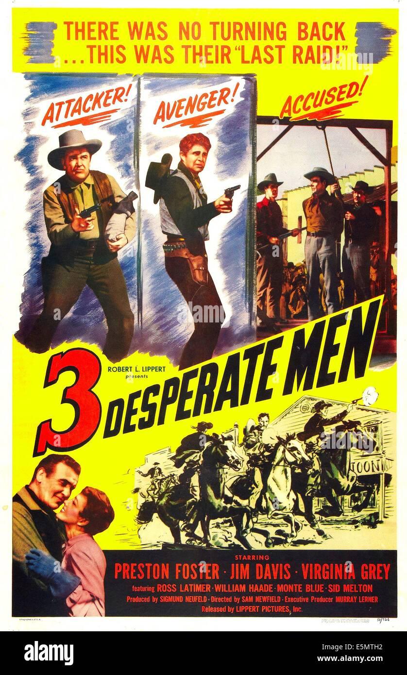 DREI verzweifelte Männer, US Plakatkunst, 1951. Stockbild