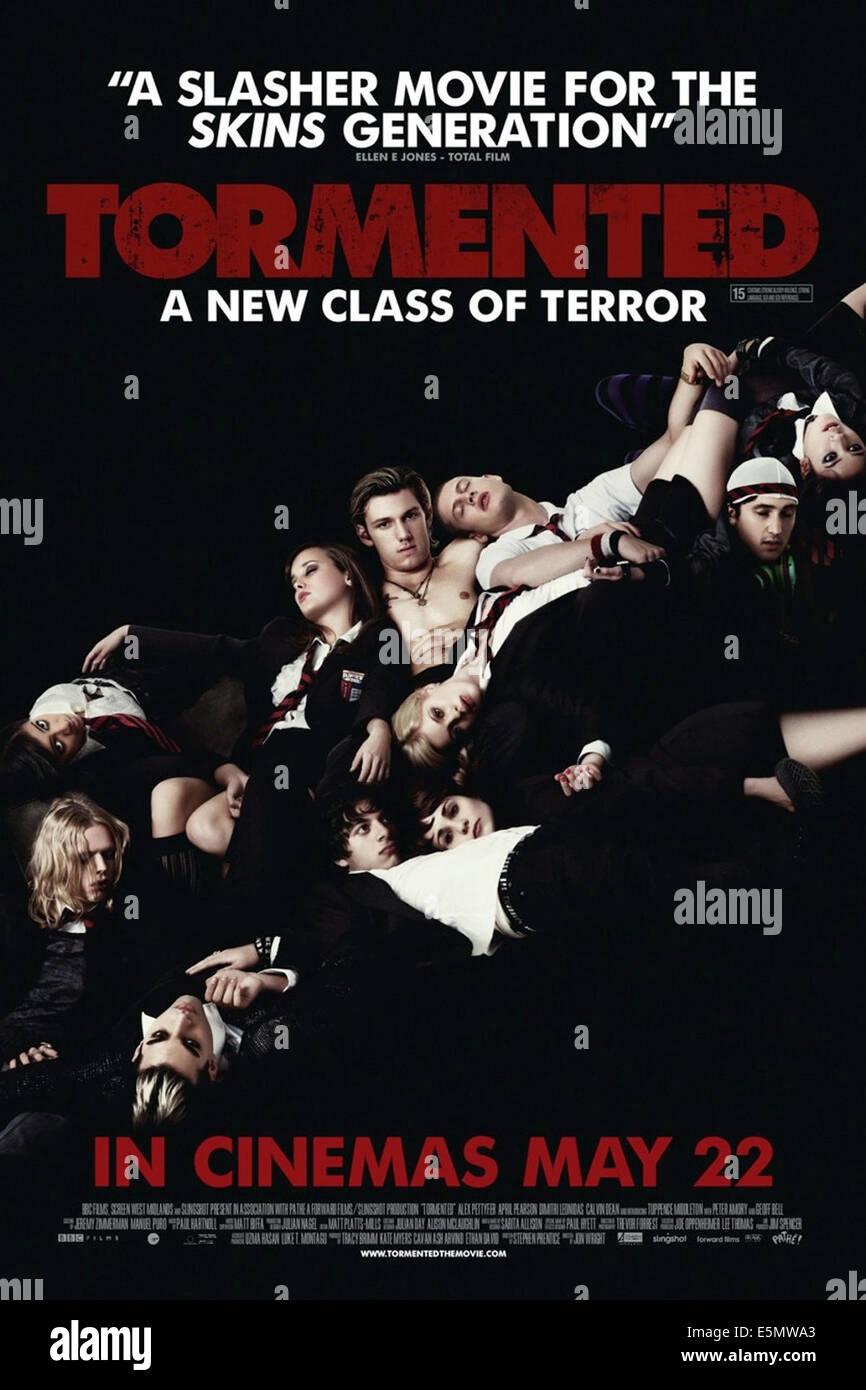 TORMENTED, britische Plakatkunst, April Pearson (oben, links von der Mitte), Alex Pettyfer (oben, Mitte), Georgien Stockbild