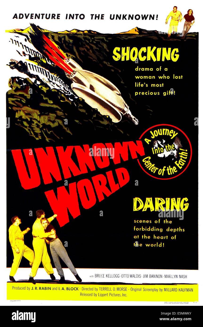 UNBEKANNTE Welt, US-Plakatkunst, 1951. Stockbild