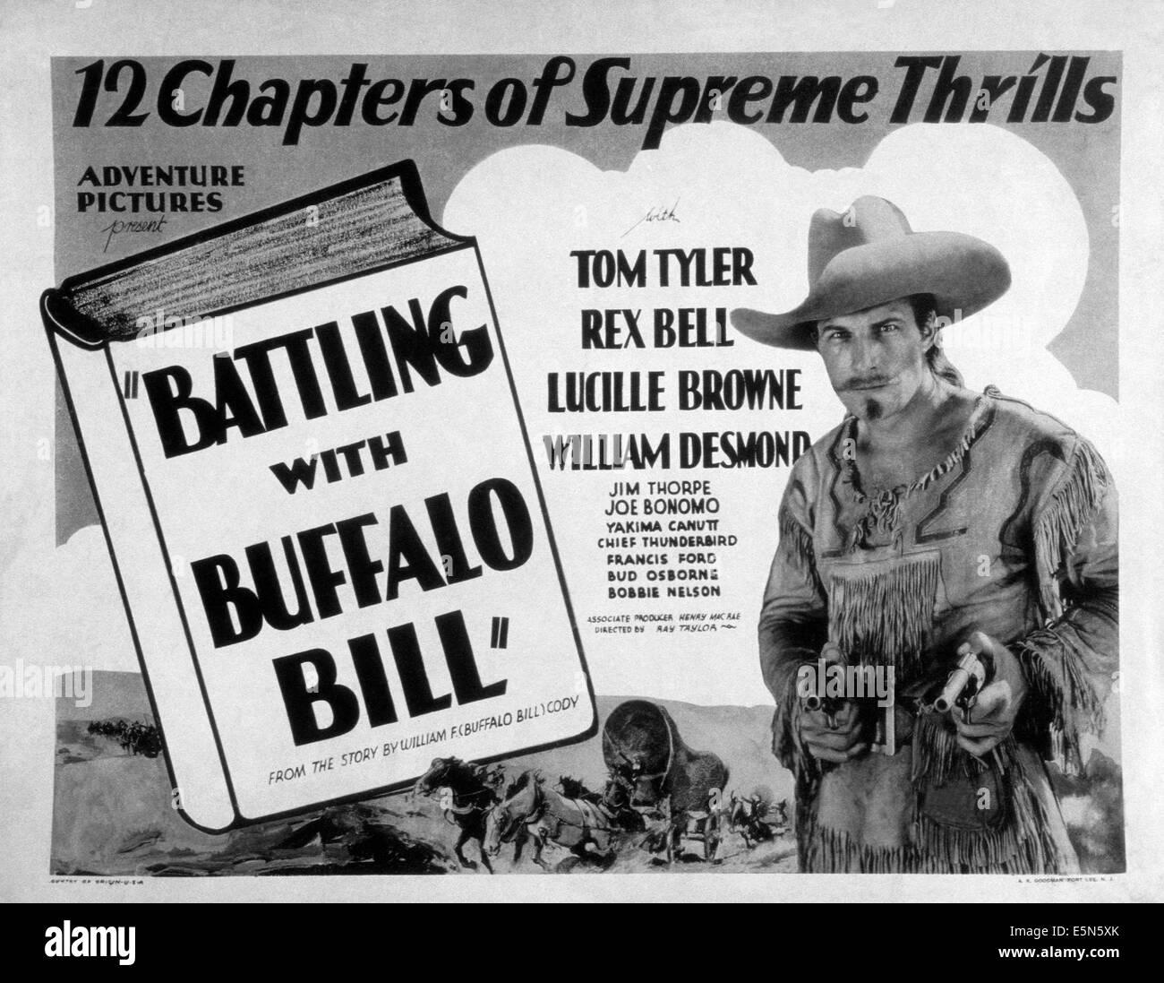 KÄMPFT mit BUFFALO BILL, Tom Tyler wie Bill Cody, 1931 Büffel Stockbild