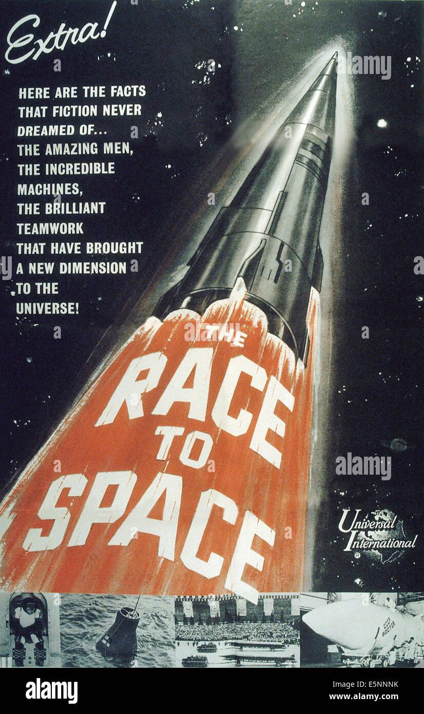 RACE TO SPACE, US-Plakat, ca. 1950er Stockbild