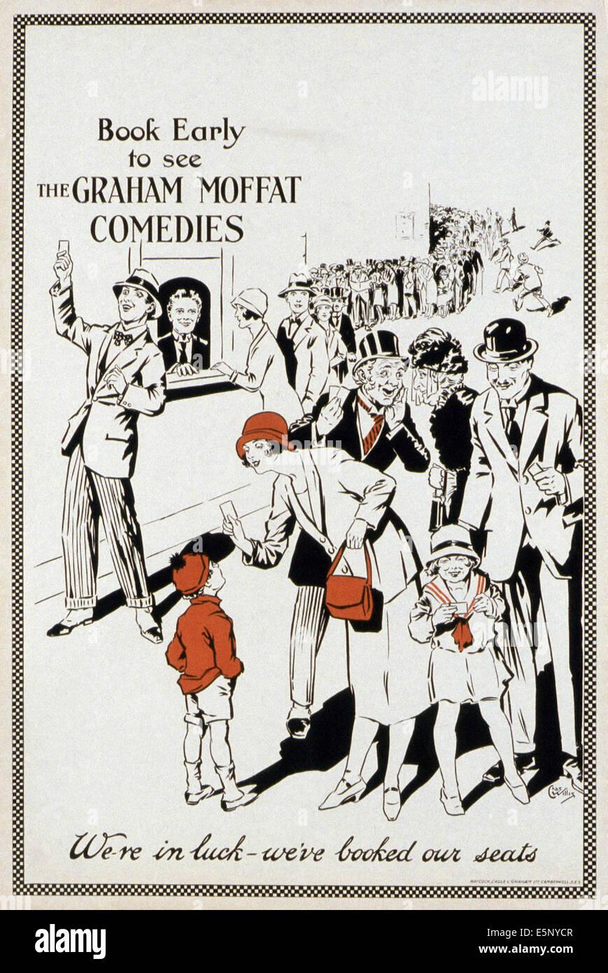 Generische Plakat für die Filme des britischen Komikers Graham Moffat, 1930er Jahre Stockbild