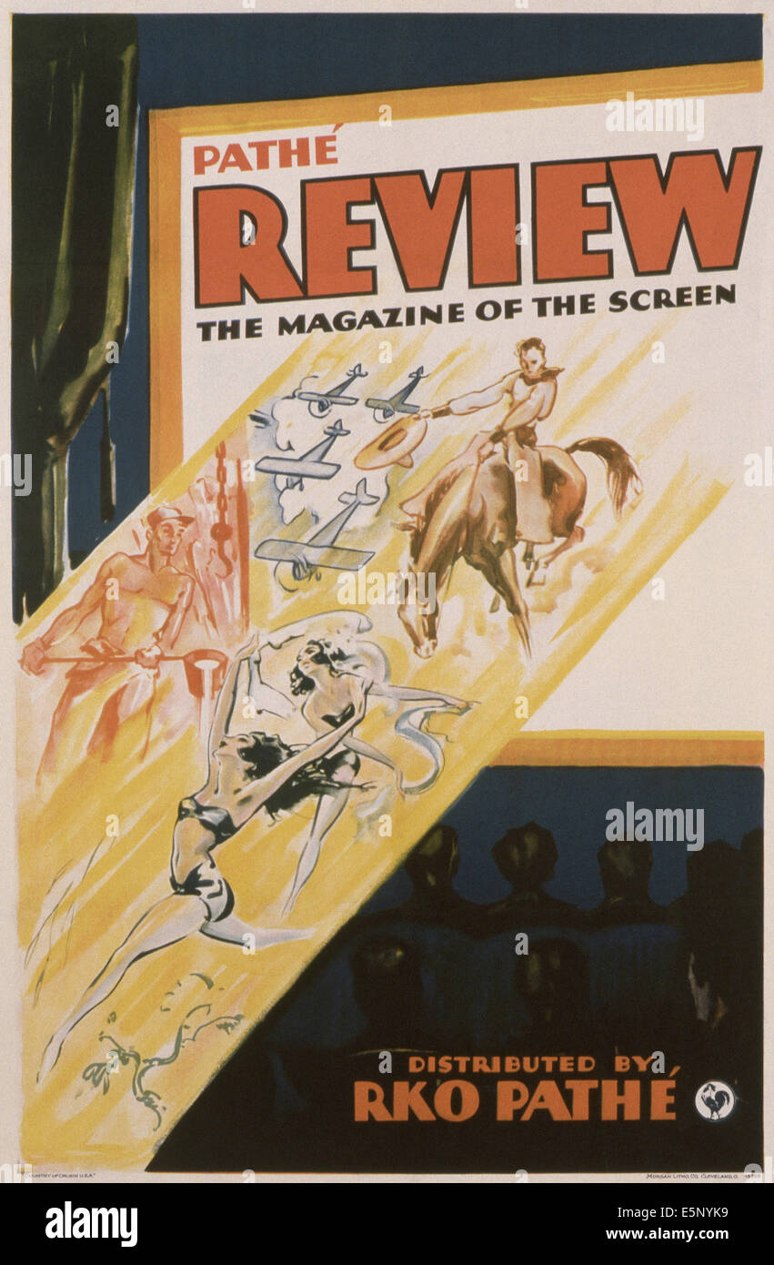Plakatwerbung der PATHE REVIEW MAGAZINE OF THE SCREEN Wochenschauen, 1950er Jahre Stockbild