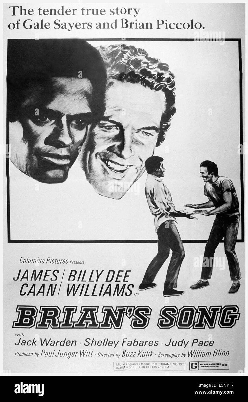 Brians Lied, von links: James Caan, Billy Dee Williams, Billy Dee Williams, James Caan, 1971 Stockbild