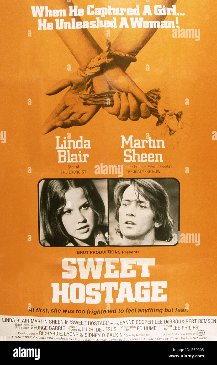SÜßE Geisel, US-Plakat, von links: Linda Blair, Martin Sheen, 1975 Stockbild