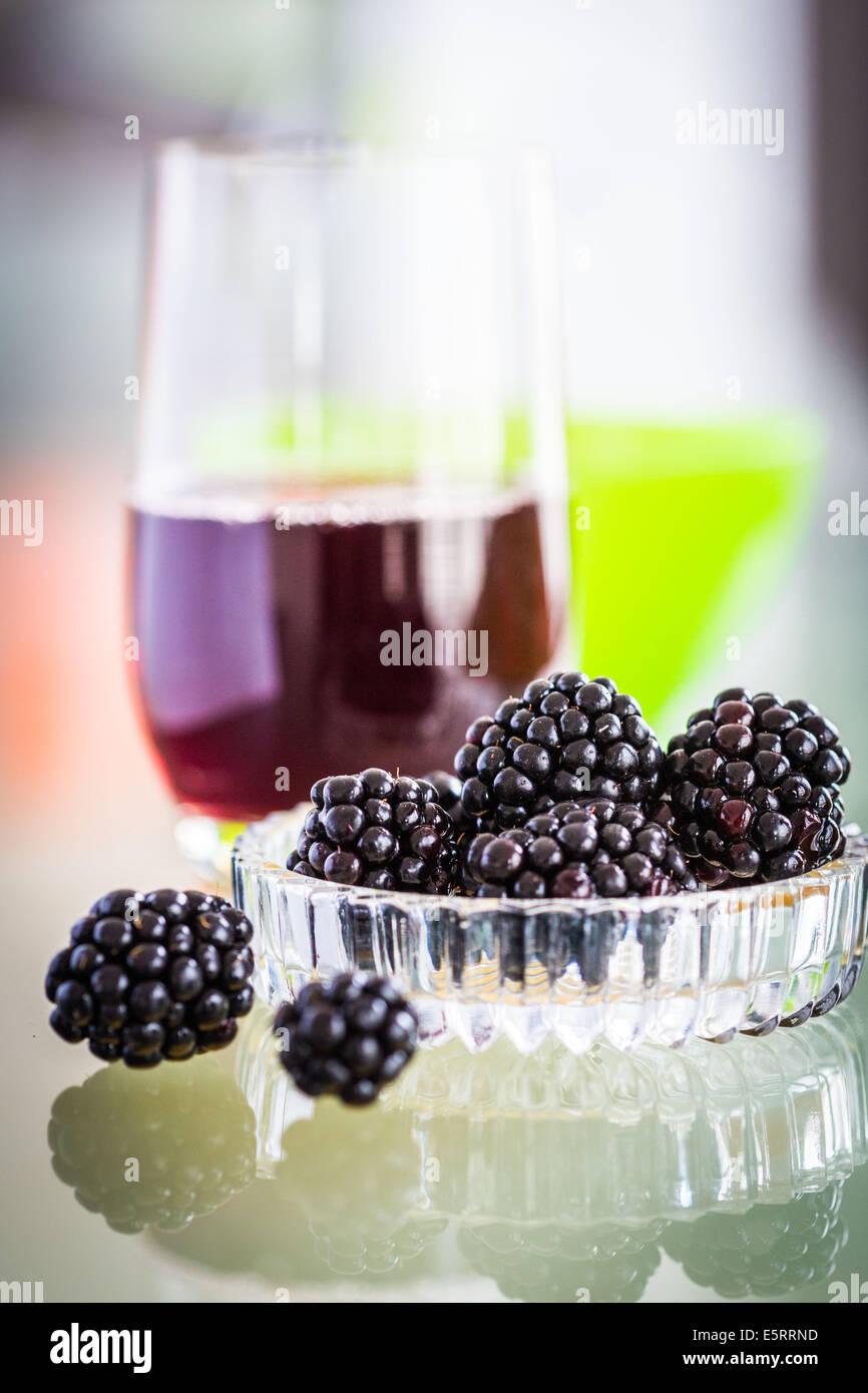 Blackberry-Saft. Stockbild