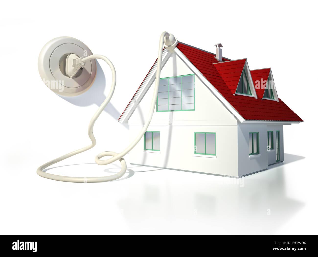 Haus mit elektrischen Kabel, Stecker und Steckdose. Auf weißem Hintergrund. Stockbild