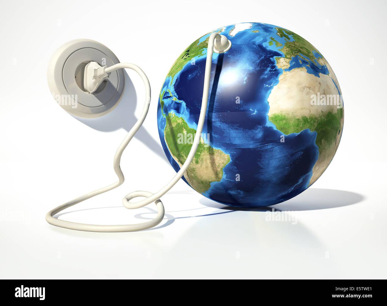 Planetenerde mit elektrischen Kabel, Stecker und Steckdose. Auf weißen Oberflächen und weißen Hintergrund. Stockbild