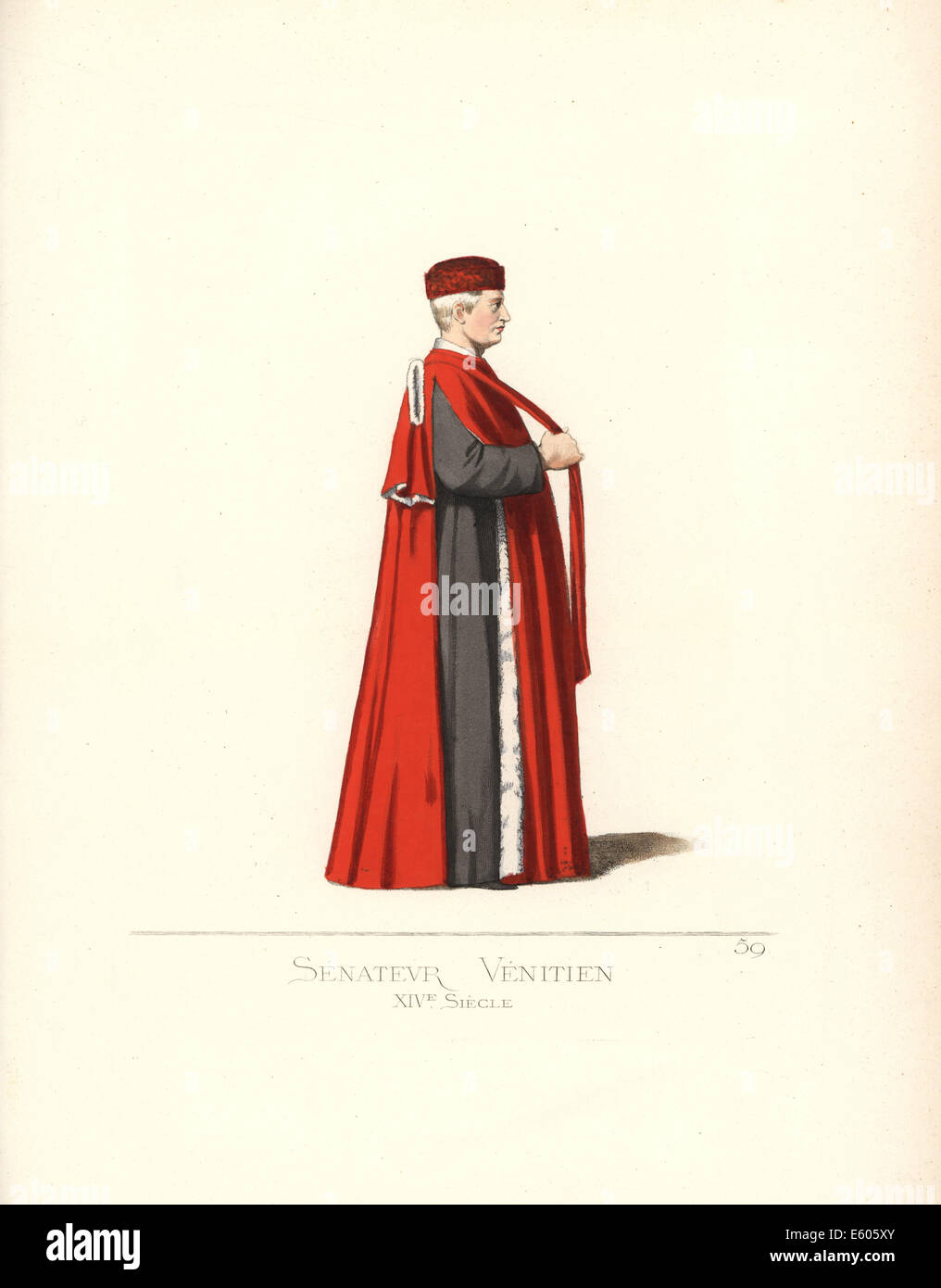 Venezianischer Senator, 14. Jahrhundert. Stockbild