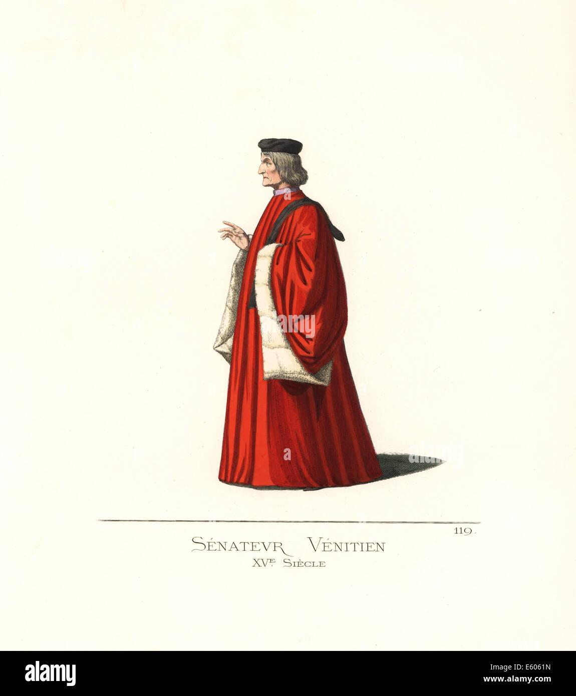 Venezianischer Senator, 15. Jahrhundert. Stockbild