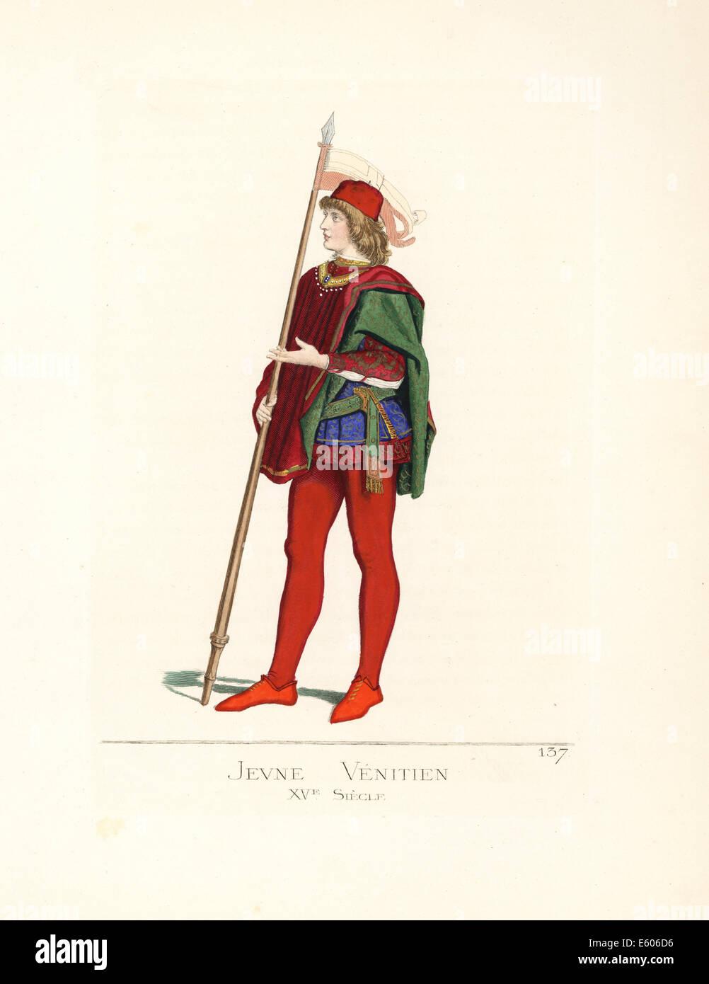 Venezianische Jüngling mit Banner, 15. Jahrhundert. Stockbild