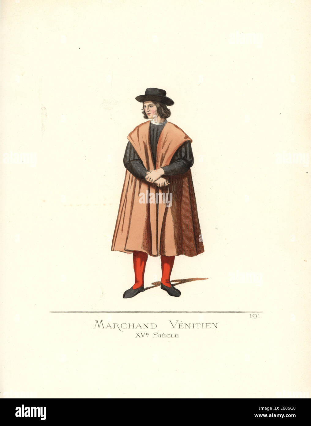 Venezianischer Kaufmann, 15. Jahrhundert. Stockbild
