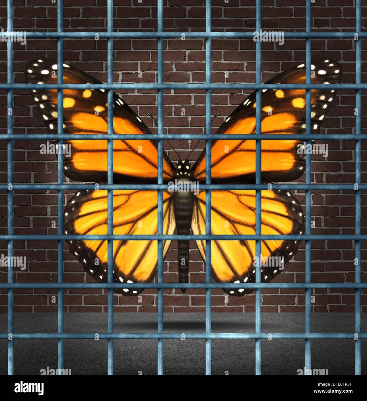 Kreativität und kreative Grenzen-Business-Konzept als ein Monarch-Schmetterling als Symbol der Bildung hinter Stockbild
