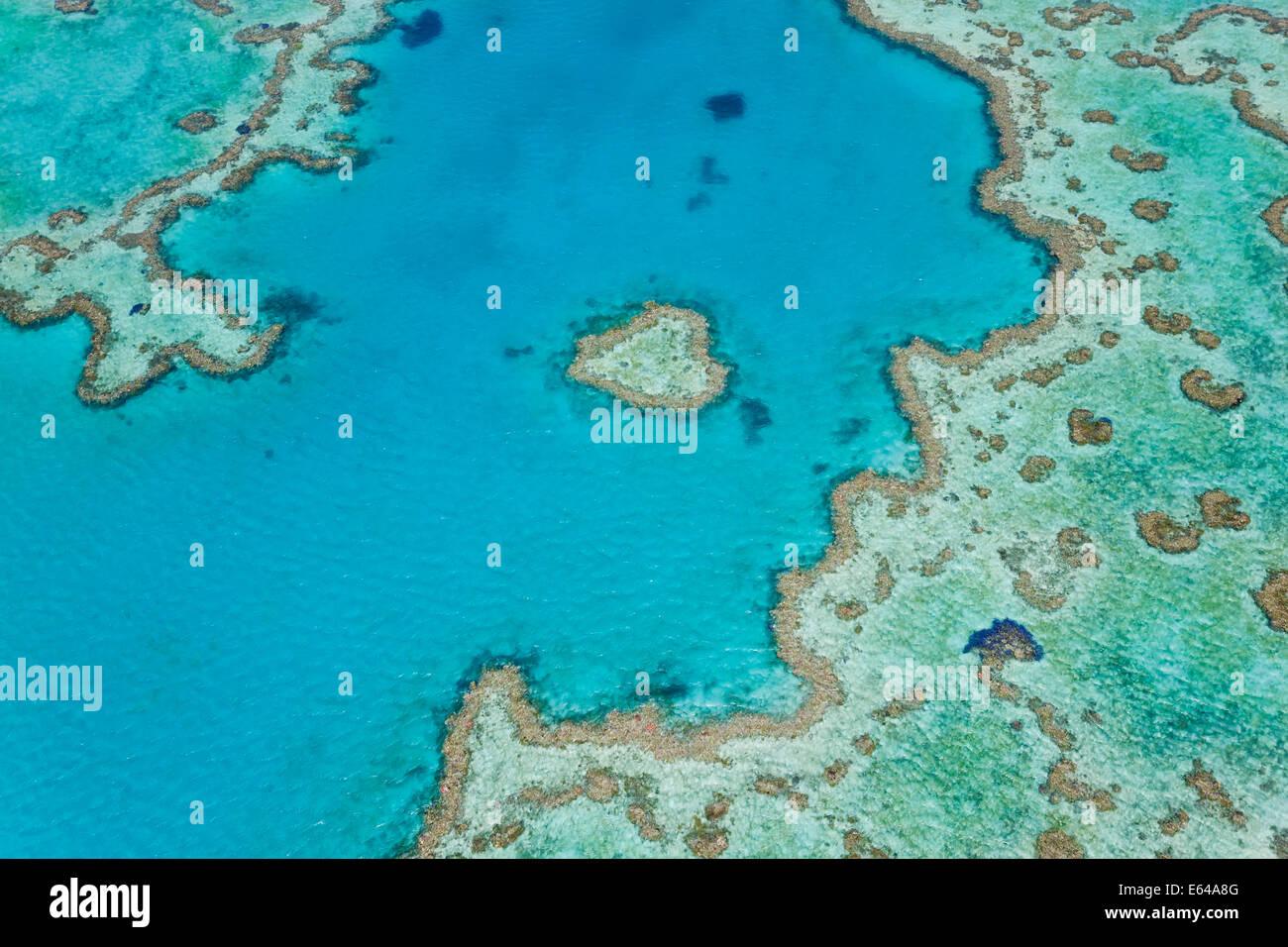 Luftaufnahme des Heart Reef, Teil des Great Barrier Reef, Queensland, Australien Stockbild